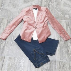 NWOT White House Black Market blush velvet blazer